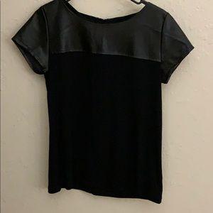 A.n.a black teeshirt with black leather zipper